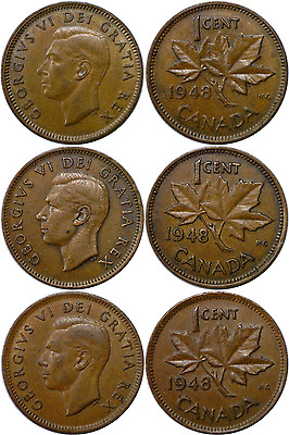 1948 1C Canada Small Cent 3 Coin Die Variety Set Extra Fine