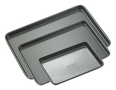 Prestige Steel 3 Piece Baking Tray Set Grey Set of 3 Non Stick Heavy Guage