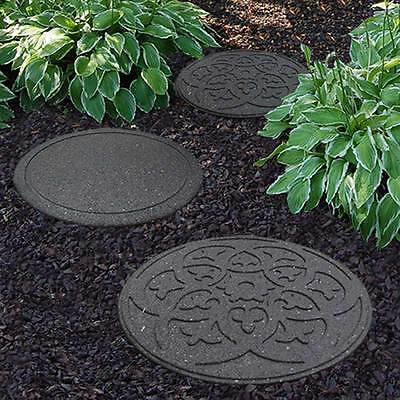 Recycled Eco Friendly Decorative Rubber Stepping Stone Walkway Path Paving Grey