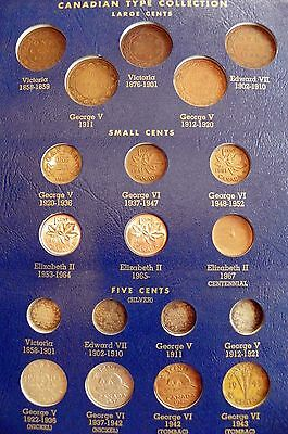 COMPLETE 48 COIN CANADIAN LARGE CENT to QUARTER SMALL COIN TYPE SET ALBUM!