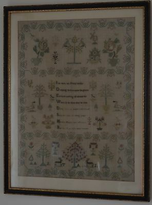 Circa 1800 Antique Needlework Sampler Surrounded by Birds, Deer & Floral Border