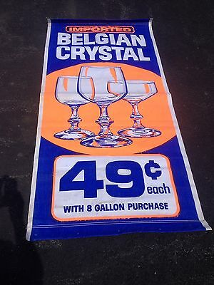 Pure Gasoline Oil Company advertising sign cloth gas station banner 6'x3'