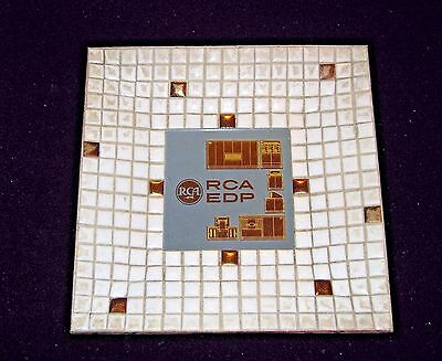 Vintage Rca Edp Mosaic Tile Glass & Metal Ashtray
