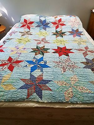 Antique Quilt All Hand Stitched Stars Solid Back