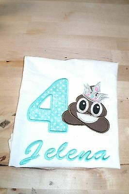 Emoji Poop Princess Turd Personalized Birthday Shirt  NAME, NUMBER, COLOR SCHEME