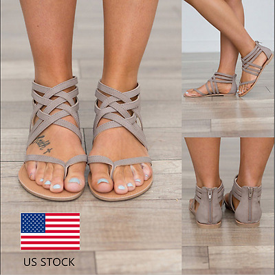US Womens Rome Gladiator Flats Zip Knitted Casaul Flip Flops Sandals Shoes Size