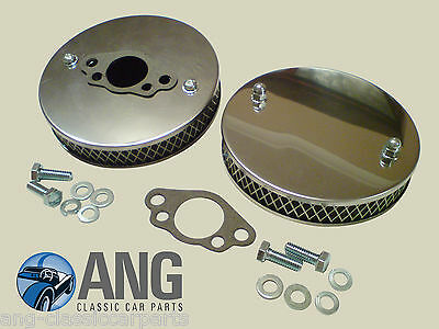"TRIUMPH SPITFIRE STAINLESS STEEL HS2 1 1/4"" SU PANCAKE AIR FILTERS & GASKETS x 2"