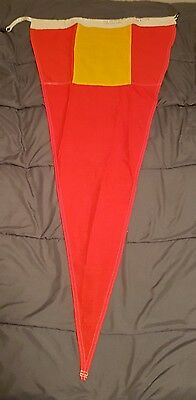 "Vintage Navy Nautical SIGNAL FLAG 24""×52"" - ""Fourth Repeater"" Red/Yellow 3-Sided"