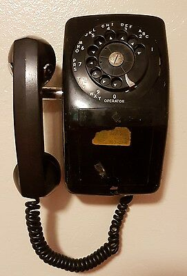 VINTAGE AUTOMATIC ELECTRIC (AECo.) ROTARY WALL TELEPHONE PHONE BLACK 1940's-50's