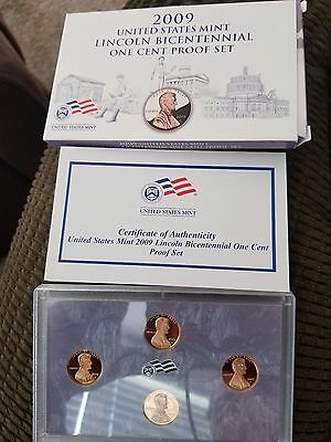 2- 2009 S Lincoln Cent Proof Sets 4 Coin Bicentennial Sets Original Box And COA