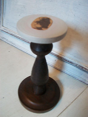 Vintage wooden hat stand millinery stand upcycled from an old wooden candlestick