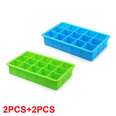 4PCS 15-Cavity Large Cube Ice Pudding Jelly Maker Mold Tray Silicone Tool HS971