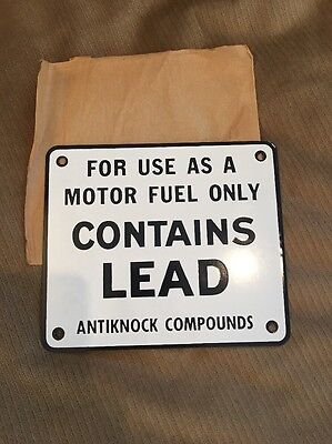 NEW OLD STOCK N.O.S. Porcelain Contains Lead Sign Gas Pump