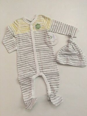 Burts Bees Baby Boy Girl Organic Coverall Hat Set Size 3 6 9 Months Layette  Grey d1cfa69708eb