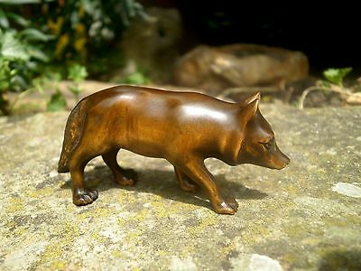 Hand Carved wood netsuke Wolf prowling, vintage / antique style figure