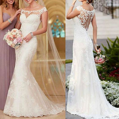 Stock White Ivory Mermaid lace Wedding dress Bridal Gown Size 6 8 10 12 14 16