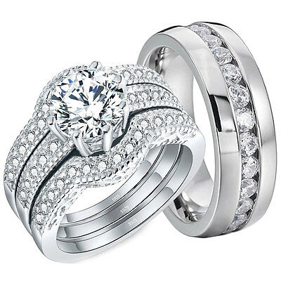 His Hers 4 PCS Wedding Rings Halo Engagement Sterling Silver Stainless Steel Set