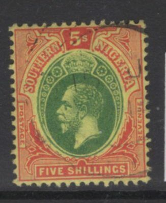 Southern Nigeria Sg54 1912 5/= Green & Red/yellow Fine Used