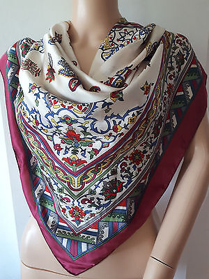 Beautiful Large Silk Vintage Scarf Wrap Burgundy Red Multi Abstract Floral