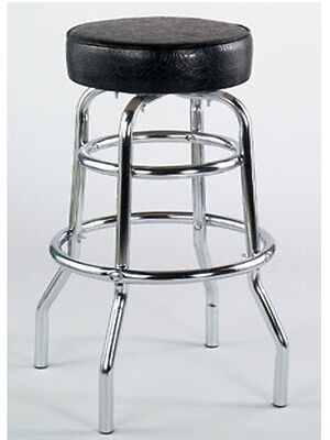 Double Ring Metal bar stool Black vinyl