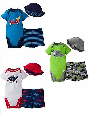 GERBER BABY BOY 3-Piece Onesie Outfit Pants and Cap Set Baby Shower Gift Clothes