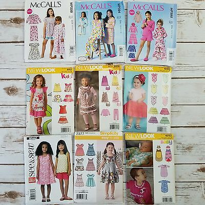 Lot 9 Mixed Sewing Patterns Girls Baby Youth Mccalls New Look Simplicity Uncut