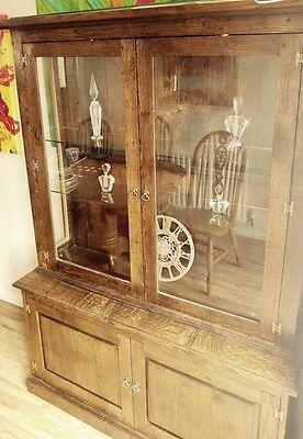 Antique Oak Bookcase/display Cabinet Deliver Available