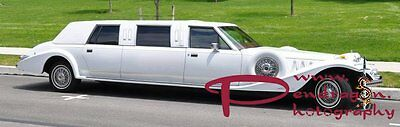 White 1986 Lincoln Excalibur 8 seater stretched limousine, chauffeur-driven