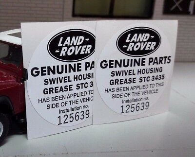 Land Rover Defender 90 110 Tdi STC3435 Swivel Grease Repro Parts Sticker Decals