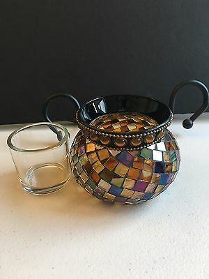 PartyLite GLOBAL FUSION VOTIVE HOLDER (or for Tealight Candle) P8367 Mosaic
