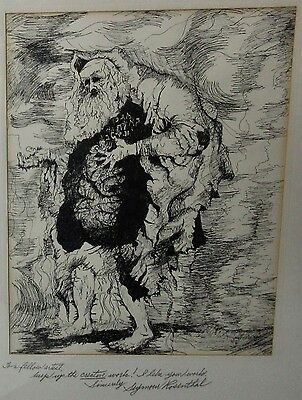 Seymour Rosenthal Original Pen & Ink Moses Tablet Drawing Signed Religious 1969