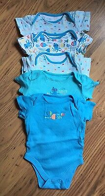 Set Of 5 Baby Boys Vests - Age 0-3 Months