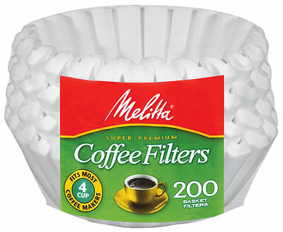 Melitta 4-6 Cup Jr. Basket Paper Coffee Filters White, 200 Count - 3 Pack