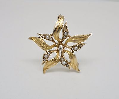 14K Yellow Gold Sea Pearl & +/- 0.05 CT TW Diamond Accent Flower Pin/ Brooch
