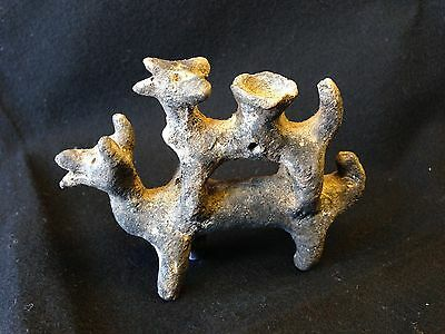 Pre-Columbian JALISCO Double Dog Figure ca. 200 BC - 250 AD.