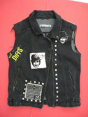 Vtg DIY Punk Rock Jean Vest The ADICTS Anti-Flag NAKED AGGRESSION Patch Studs Lg