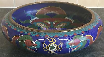 29cm SIGNED antique quality CHINESE CLOISONNE DRAGON & FLAMING PEARL FIRE BOWL
