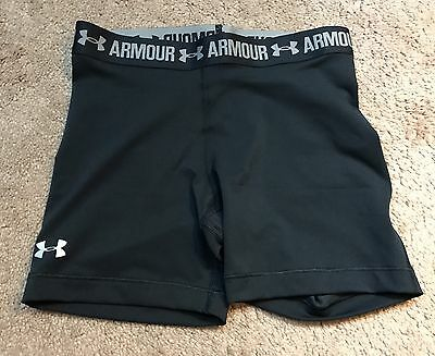 "UNDER ARMOUR WOMEN HEATGEAR Compression 5"" Black Shorts Small 1271779 B323"