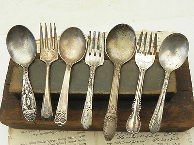Lot of 7 Vintage Silver Plate Child Spoons Forks Repurpose