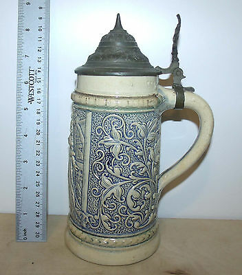 Germany Beer Stein w Lid Ceramic Blue & White Design