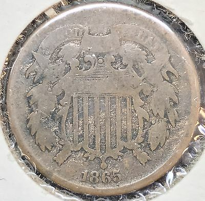 1865 2c Two Cent Piece Coin #736