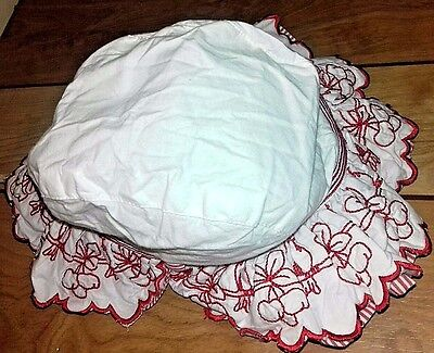 Beautiful vintage Baby Girl Sun Hat  Age 6- 24 Months Cotton Embroidered Floral