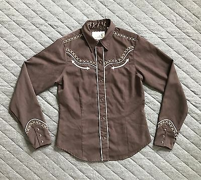 Roper Vintage Western Shirt Brown Cream Embroidered Snap Up Women's Small