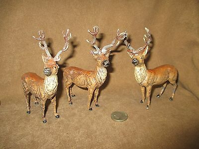 Lot of 3 Antique Putz ? German LEAD DEER Buck Stag Painted Metal Reindeer