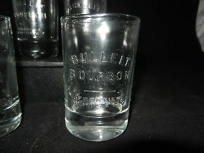 Lot of 4 Bulleit Bourbon Frontier Whiskey Glass Tumblers Large Shot Whisky