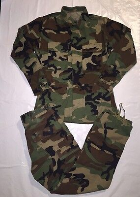 US Military Hot Weather Woodland Combat Camouflage Pattern Set Top And Pants S/R