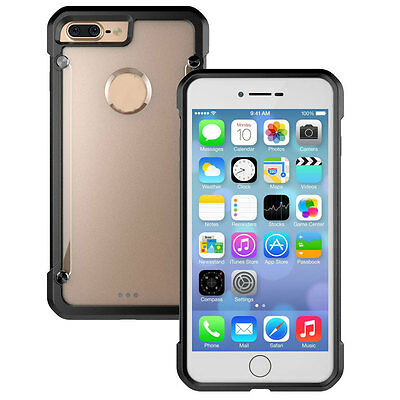 Shockproof Bumper Rugged Armor Clear Back Case Cover For iPhone 7 Plus Black