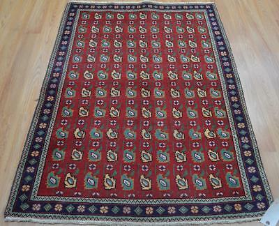 3'3x4'10 Nice Genuine Antique Persian All Over Tabriz Hand Knotted Wool Area Rug