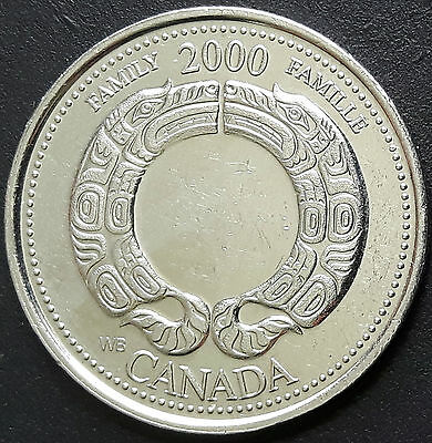 CANADA 2000 CANADIAN QUARTER 25 Cents FAMILY - FAMILLE Millenium Series COIN.