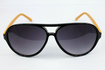 NEW VINTAGE RETRO 80s SPORTS AVIATOR WOMEN'S MENS BLACK YELLOW SHADES SUNGLASSES